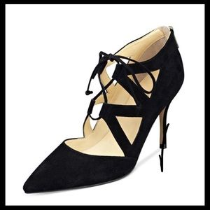 Black Suede Lace up Heel, size 7.5
